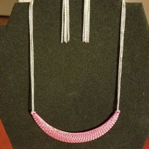 Pink Moon Shaped Statement Necklace